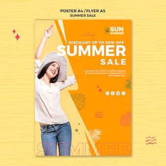 Model dziewczynka lato sprzedaż szablon ulotki