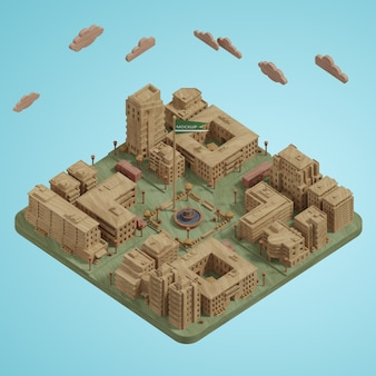 Model miniatur miast 3d