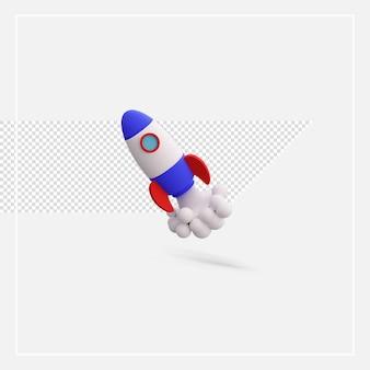 Model rakiety renderującej 3d na białym tle