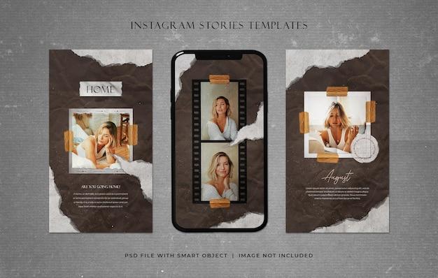 Modne historie na instagramie z szablonami rozdartego papieru