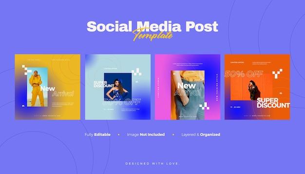 Modowy baner w mediach społecznościowych i szablon postu na instagramie