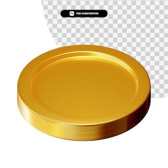 Moneta 3d renderowania wizualnego na białym tle