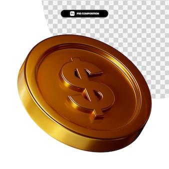 Moneta 3d Renderowania Wizualnego Na Białym Tle Premium Psd