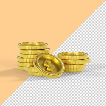 Moneta dolara na białym tle renderowania 3d