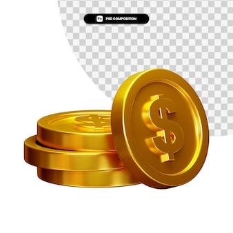 Moneta wizualizacji 3d kompozycji na białym tle