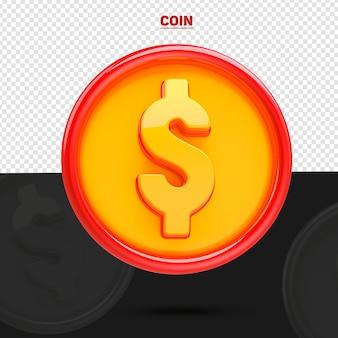 Moneta z przodu 3d dla kompozycji na białym tle