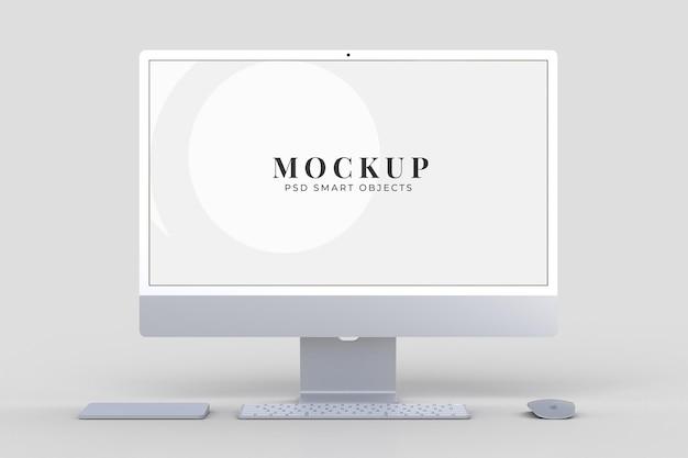 Monitor 24-calowy szablon makiety do brandingu prezentacji, identyfikacji wizualnej, reklamy, brandingu biznesowego. renderowanie 3d