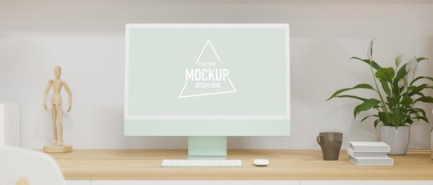 Monitor komputerowy z ekranem makiety na drewnianym biurku z książkami i dekoracjami renderowania 3d