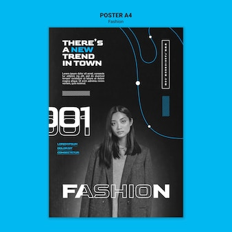 Monochromatyczny plakat pionowy przedstawiający trendy w modzie z kobietą