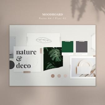 Moodboard z roślinami i szkic