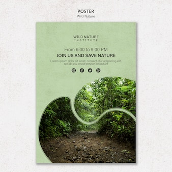 Motyw dzikiej przyrody na szablon plakatu
