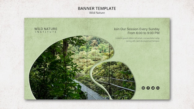 Motyw dzikiej przyrody na szablonie baneru