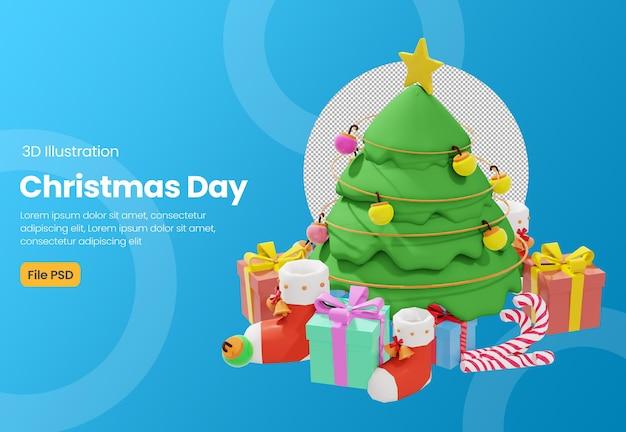Motyw świąteczny 3d ilustracja z choinką i pudełkiem prezentowym