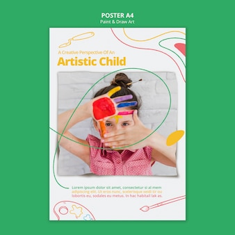Motyw szablonu malowania i rysowania sztuki plakatu