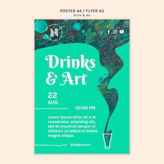 Motyw szablonu plakatów napoje i sztuka