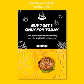 Motyw szablonu plakatu amerykańskiej żywności