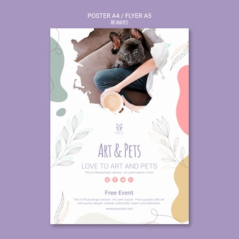 Motyw szablonu plakatu sztuki i zwierząt domowych