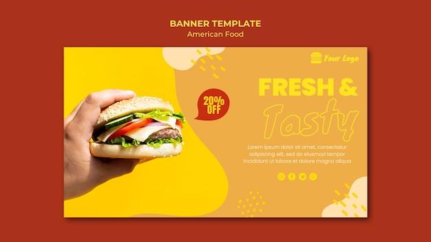 Motyw szablonu transparent amerykańskiej żywności