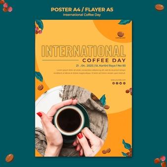 Motyw ulotki z okazji międzynarodowego dnia kawy
