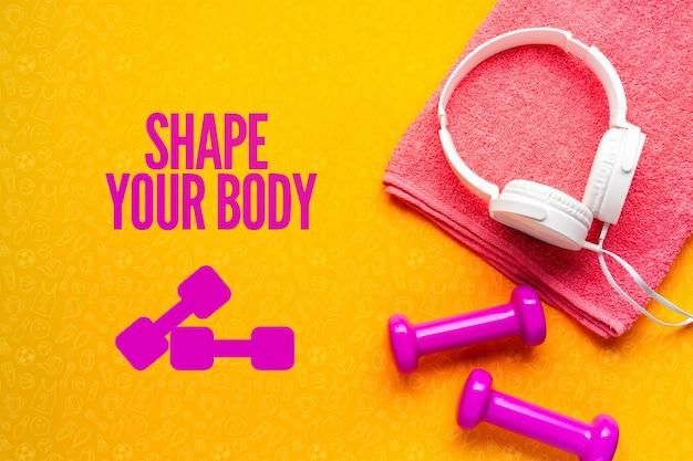 Motywacyjny komunikat i sprzęt fitness