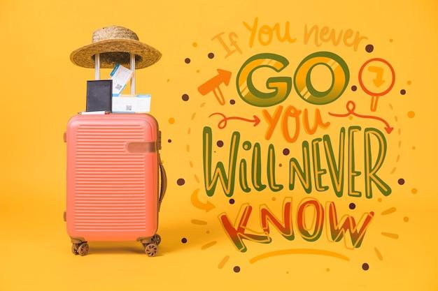 Motywacyjny napis cytat na wakacje podróży koncepcja