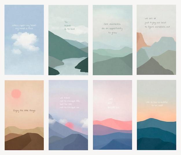 Motywacyjny szablon cytat psd na zestawie tła krajobrazu