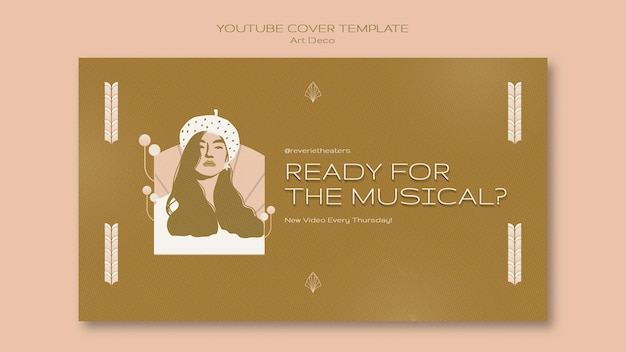 Muzyczna okładka youtube w stylu art deco