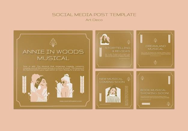 Muzyczne posty w mediach społecznościowych w stylu art deco