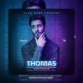 Muzyczny post w mediach społecznościowych i szablon promocji banera na instagramie