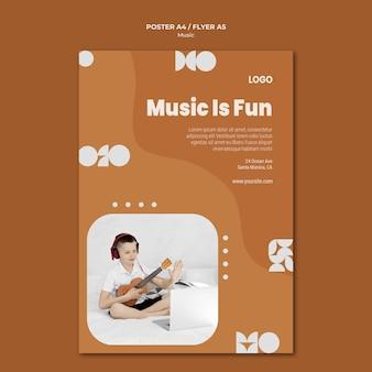 Muzyka jest zabawnym chłopcem grającym na ukulele plakat