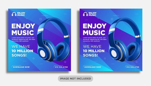 Muzyka lub słuchawki w mediach społecznościowych