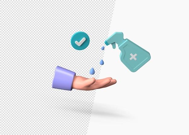 Mycie rąk dezynfekującym mydłem w płynie na białym tle renderowania 3d