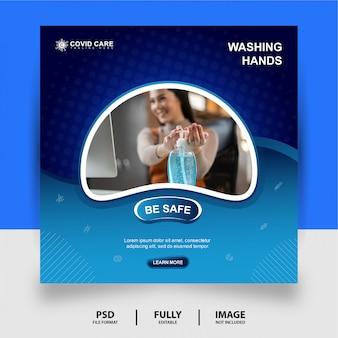 Mycie rąk social media post banner