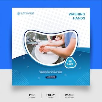 Mycie rąk zdrowie medyczne media społecznościowe post banner