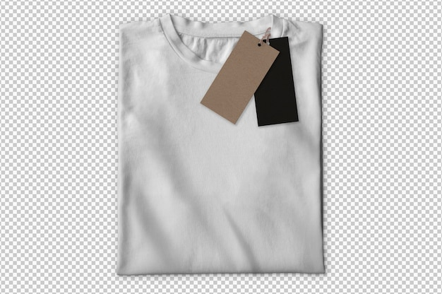 Na białym tle biała koszulka z etykietami