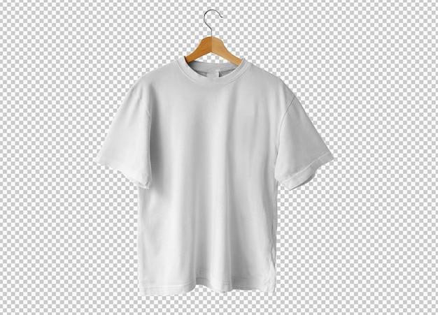 Na białym tle biała koszulka z wieszakiem
