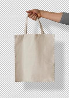 Na białym tle biała trzymana torba na ramię