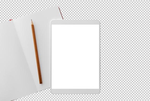 Na białym tle biały tablet i notatnik