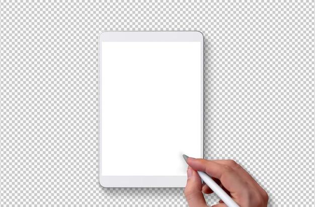 Na białym tle biały tablet i ręka z ołówkiem