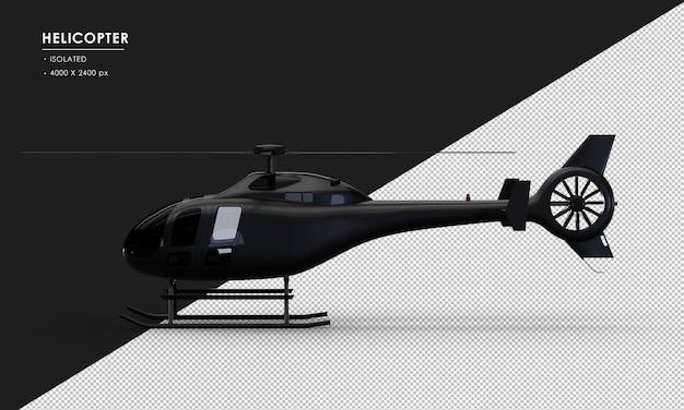Na białym tle czarny helikopter z lewej strony widoku