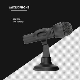 Na białym tle czarny mikrofon z podstawą widok z prawej strony