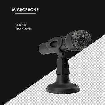 Na białym tle czarny mikrofon z podstawą widok z przodu po prawej stronie