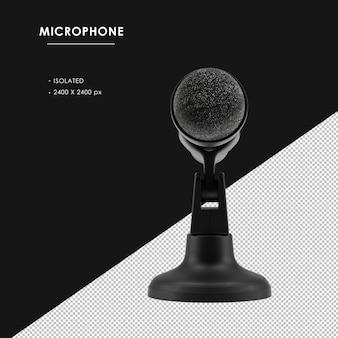 Na białym tle czarny mikrofon z podstawą widok z przodu