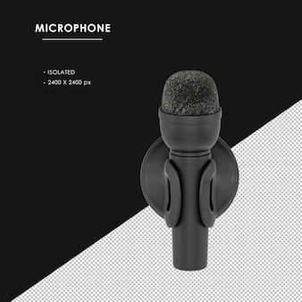 Na białym tle czarny mikrofon z widokiem z góry stojak