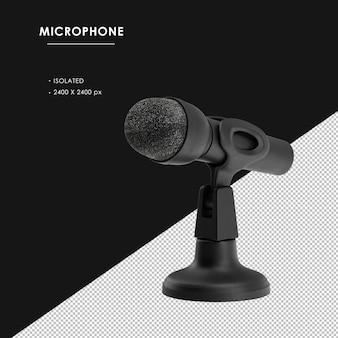 Na białym tle czarny mikrofon z widokiem z przodu po lewej stronie stojaka