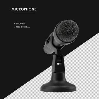 Na białym tle czarny mikrofon ze statywem o dowolnym kącie widzenia