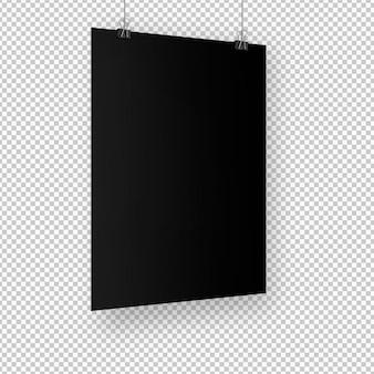 Na białym tle czarny plakat z klipami
