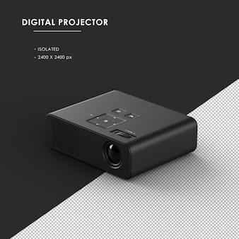 Na białym tle czarny projektor cyfrowy z lewego górnego widoku z przodu