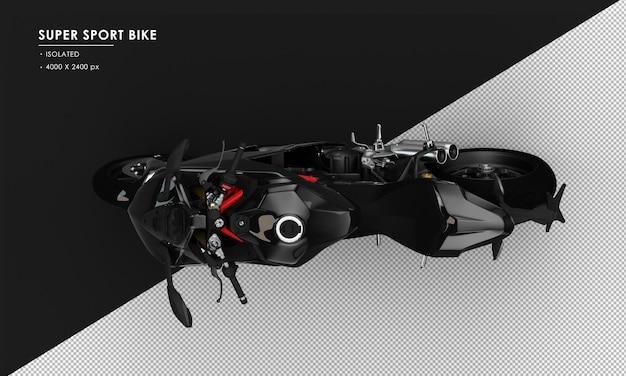 Na białym tle czarny super sport rower z widoku z góry