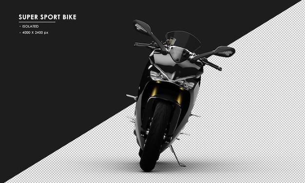 Na białym tle czarny super sport rower z widoku z przodu